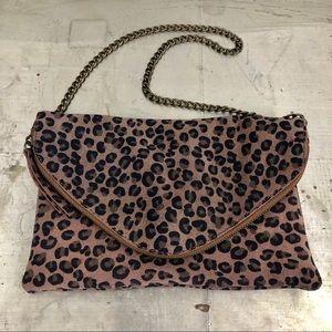 J. Crew Leopard Print Leather envelope clutch